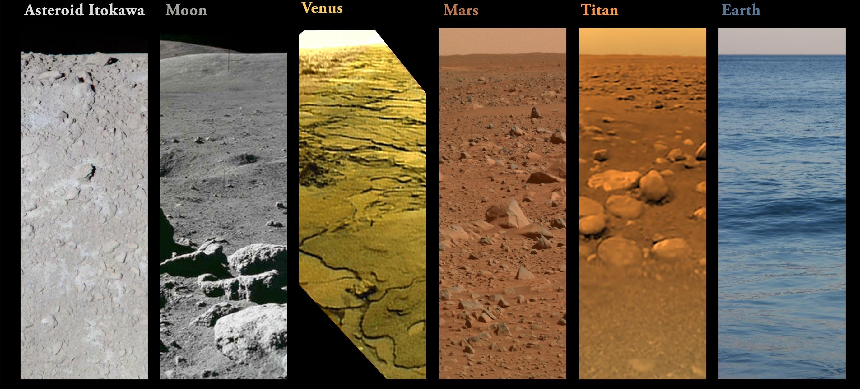 How the Alien Surfaces of Our Solar System Look, Side-by-Side