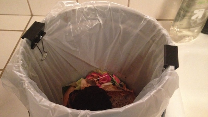 Secure Garbage Bags In The Bin With Binder Clips