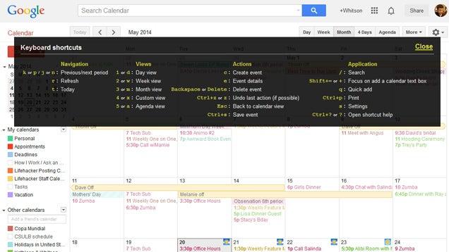 Reminder: Google Calendar Has Keyboard Shortcuts, Too