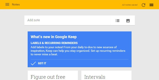 Google Keep Adds Labels and Recurring Reminders