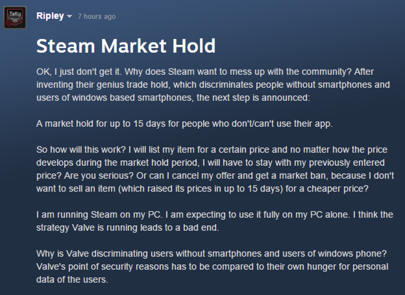 Steam Users Think Valve's New Trading Restrictions Go Too Far