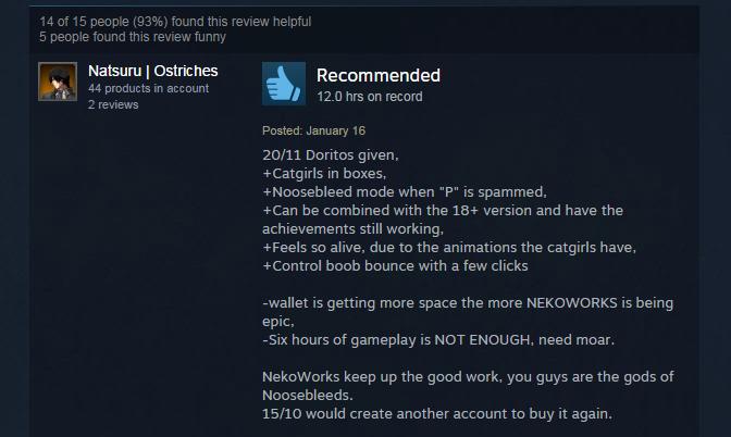 Nekopara Vol. 1, As Told By Steam Reviews