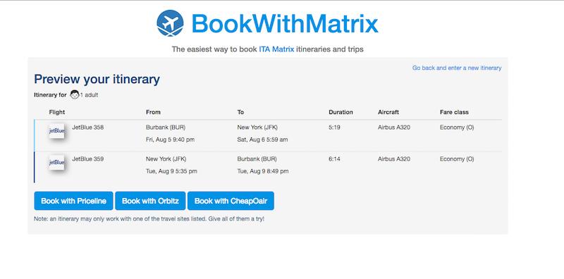 BookWithMatrix Makes It Dead Simple To Buy Plane Tickets With ITA Matrix