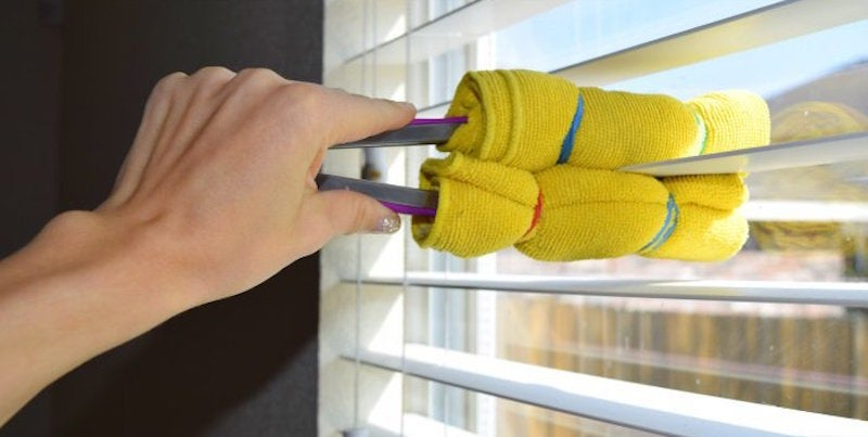 Quickly Clean Window Blinds By Wrapping Tongs In Microfiber Cloth