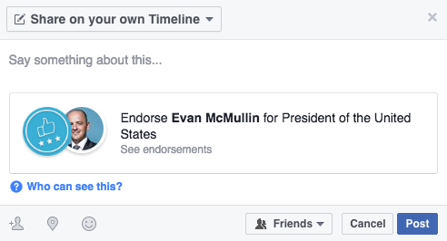 Great, You Can Now Endorse Political Candidates on Facebook