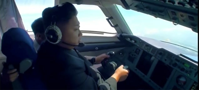 Watch the almighty Kim Jong-un allegedly flying a plane by himself