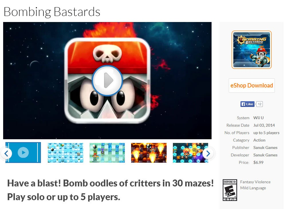 Bombing Bastards Is A Game You Can Buy On A Nintendo Console