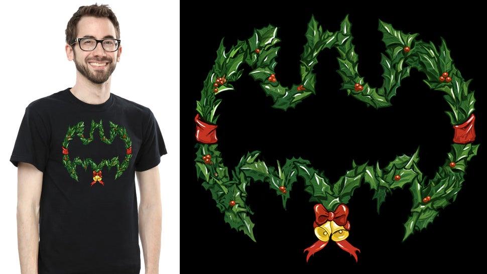 'Tis the Season To Wear This Festive Batman Wreath Tee