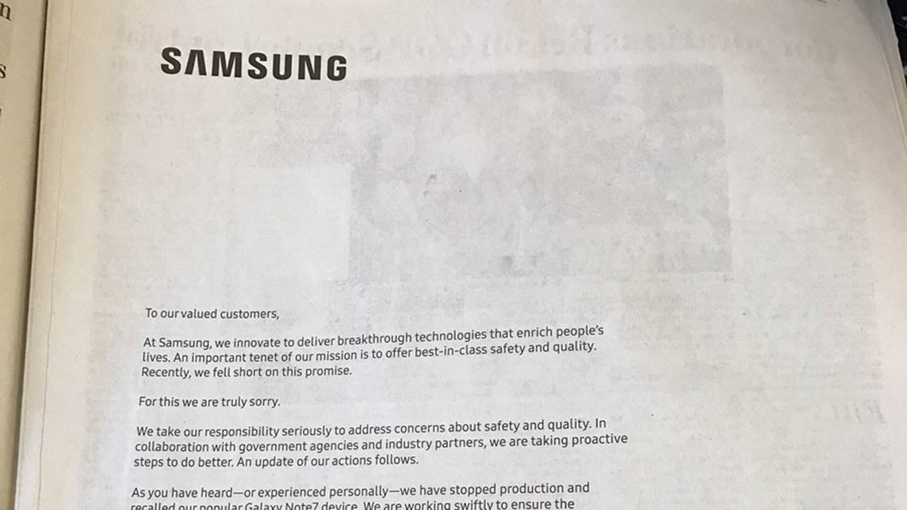 Sad Samsung Apologises For Exploding Phones In Full-Page Newspaper Ads