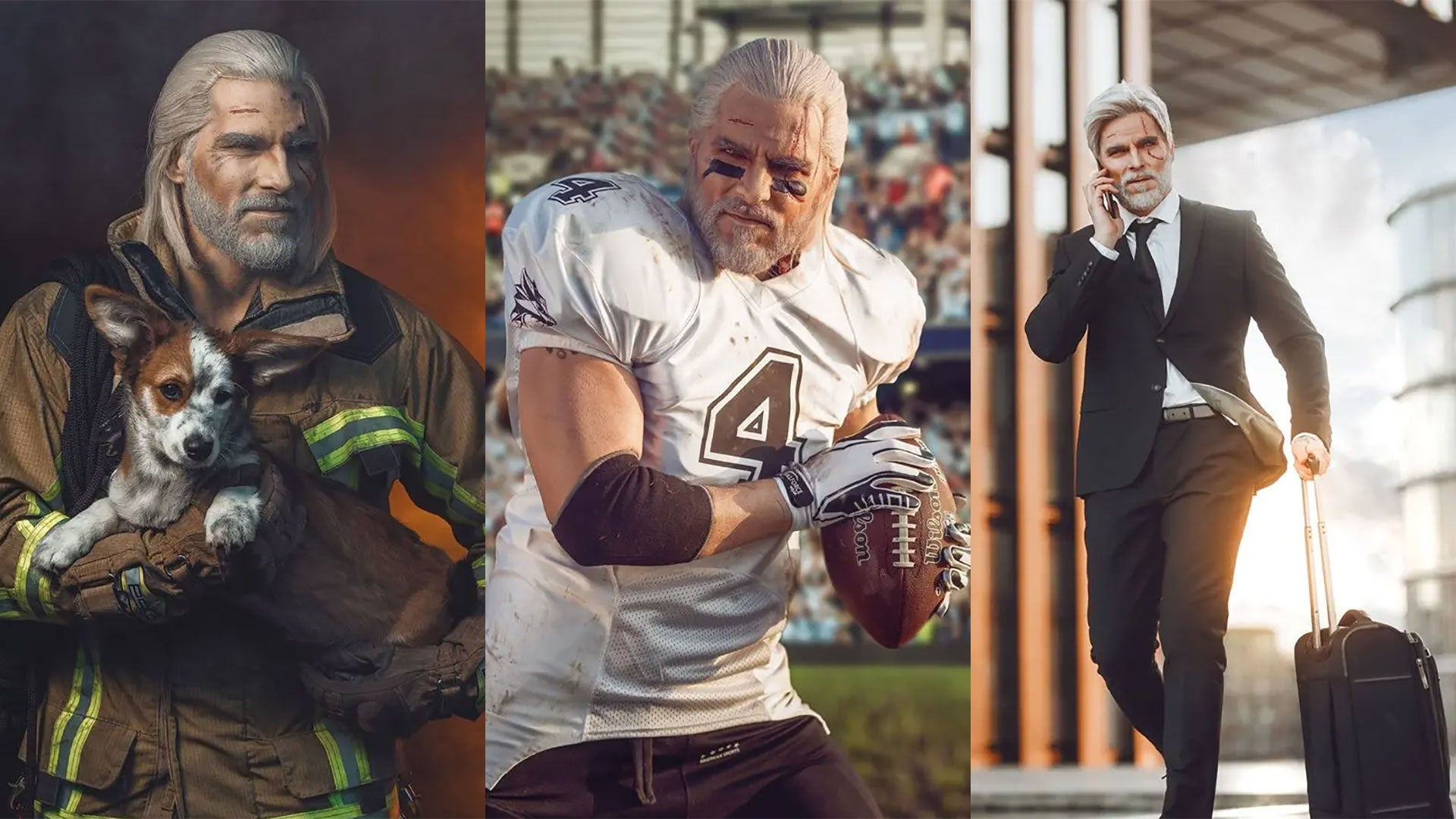Witcher Cosplayer Turns Geralt Into A Firefighter, Football Player And Rock Star
