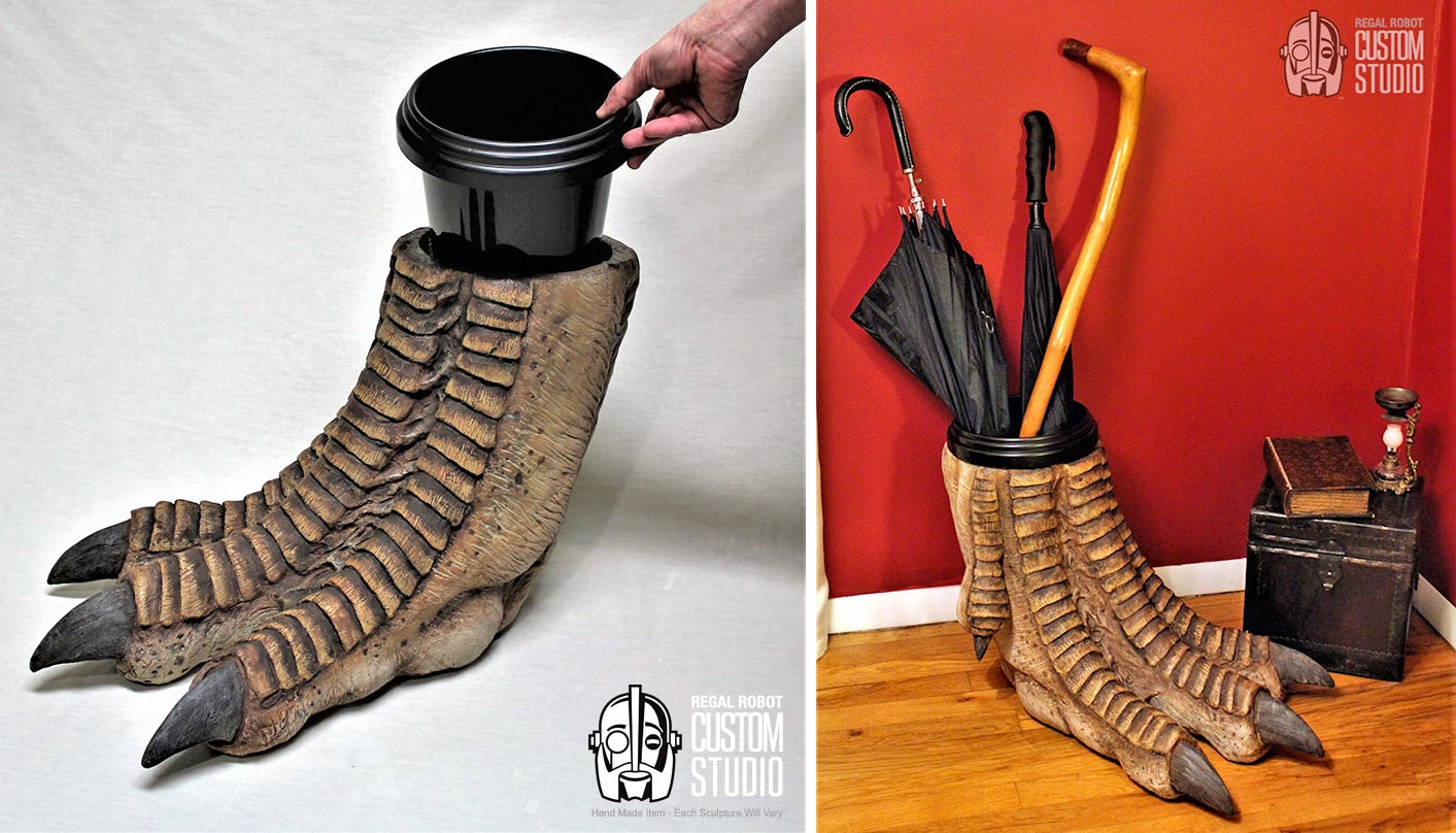 No Dinosaurs Were Harmed In The Making Of This T-Rex Foot Garbage Can