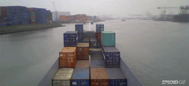 The mesmerising ballet of container ships moving around a shipping dock