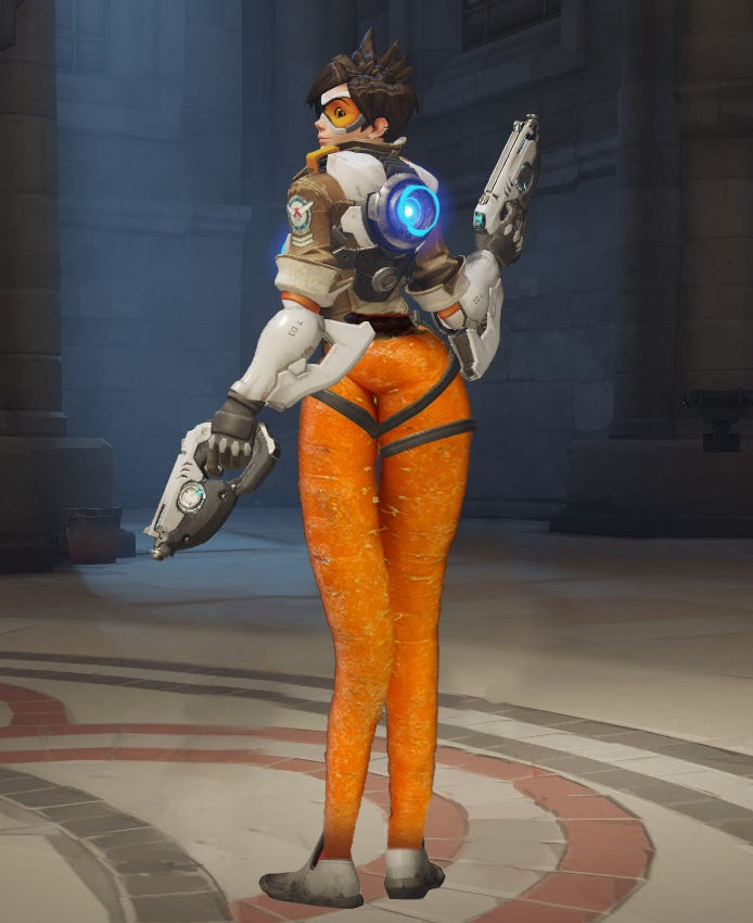Overwatch's Tracer Photoshopped with a Sexy Carrot