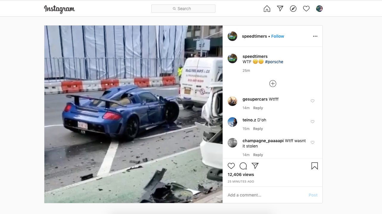 Guy Takes Pandemic Opportunity To Rip Through NYC Streets In A Gemballa, Immediately Crashes