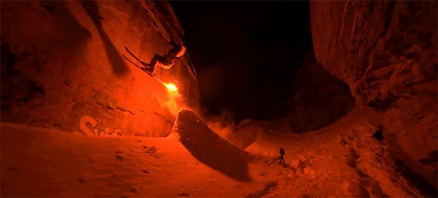 Skiing in the Dark with a Torch Attached to a Ski Is Crazy Fun