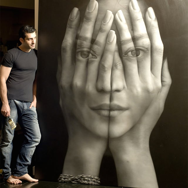 Hyper-realistic paintings look like huge double-exposure photos