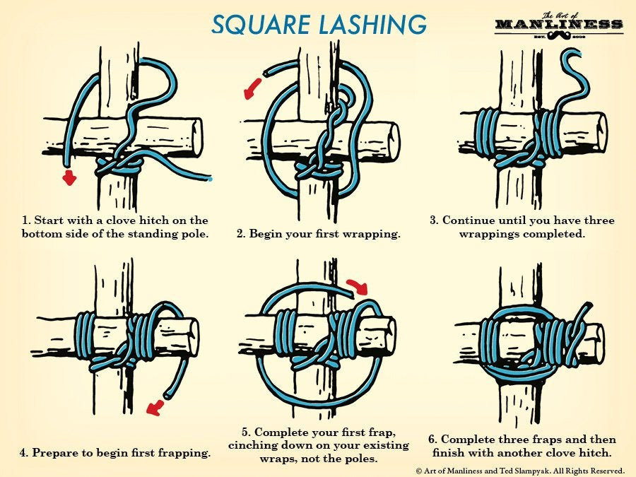 Learn The Basics Of Tying Wood Together With These Three Lashings [Infographic]