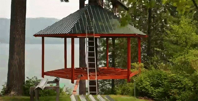 Watch an Awesome Tree House Get Built in This Time Lapse