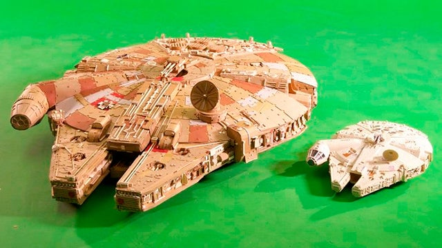 An Immaculate Millennium Falcon Model Made Entirely Of Cardboard
