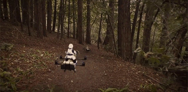 Watch a Pair of Quadcopter Speeder Bikes Race Through a Redwood Forest