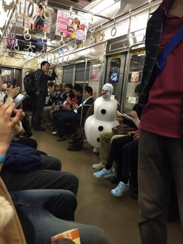 Olaf from Frozen Hanging Out in Tokyo