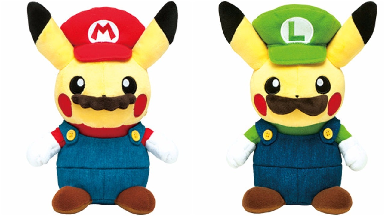 Pikachu Plushies Dressed Up As Mario And Luigi