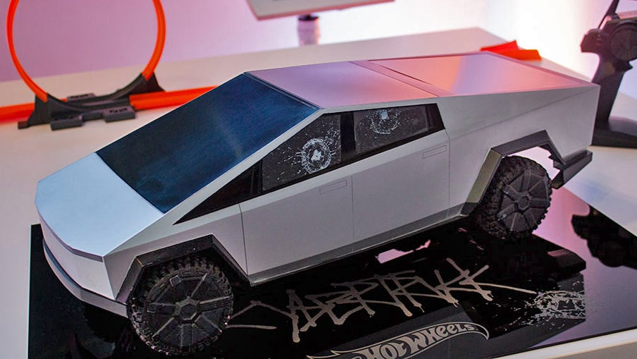 Hot Wheels Made A Mini Tesla Cybertruck Complete With Broken Window Stickers