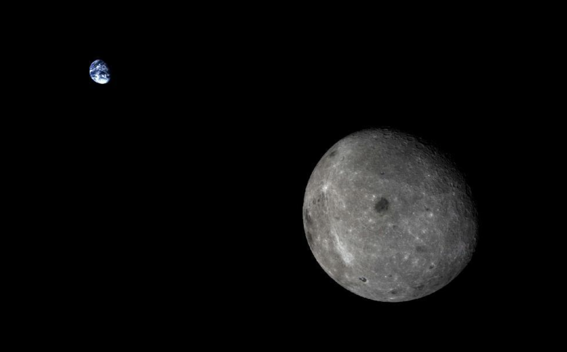 Amazing new image of the Earth and the Moon taken outside lunar orbit