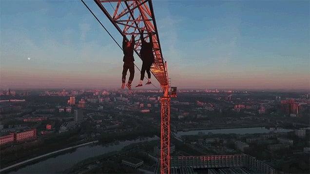 Just Two Guys Dangling Off a Crane Like It's No Big Deal