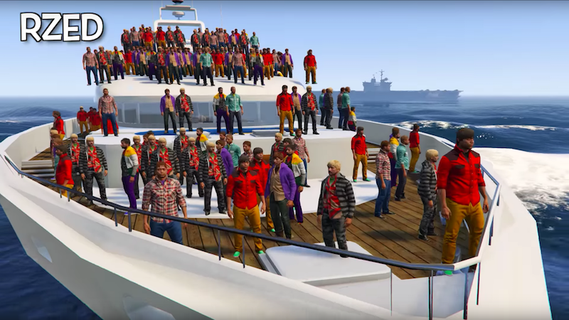 GTA V Player Sinks A Yacht With 100 Bodies