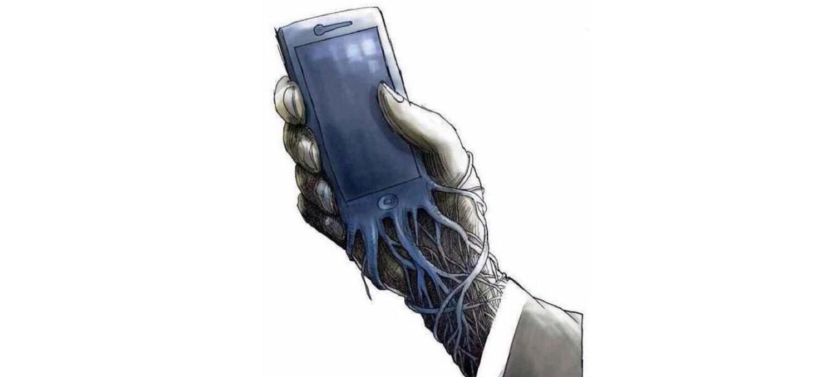 A Vivid Reminder From Banksy That Technology Can Enslave Us All