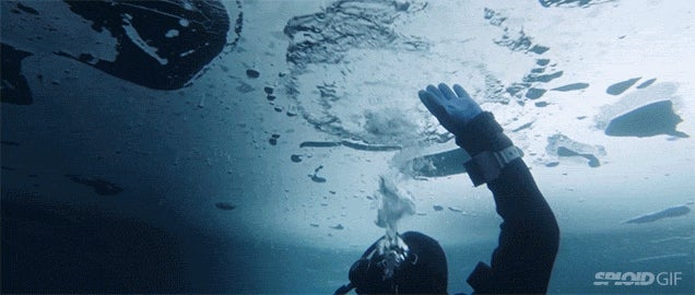 Being trapped underneath an icy lake is terrifyingly beautiful