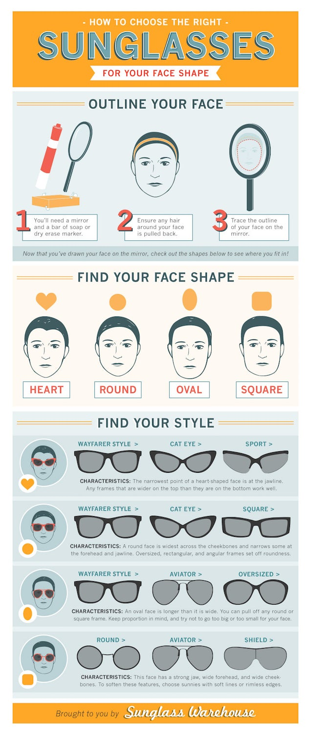 1de0bb7bc5 This Chart Helps You Choose The Best Sunglasses For Your Face Shape ...