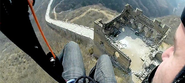 I want to glide down the Great Wall of China like this guy
