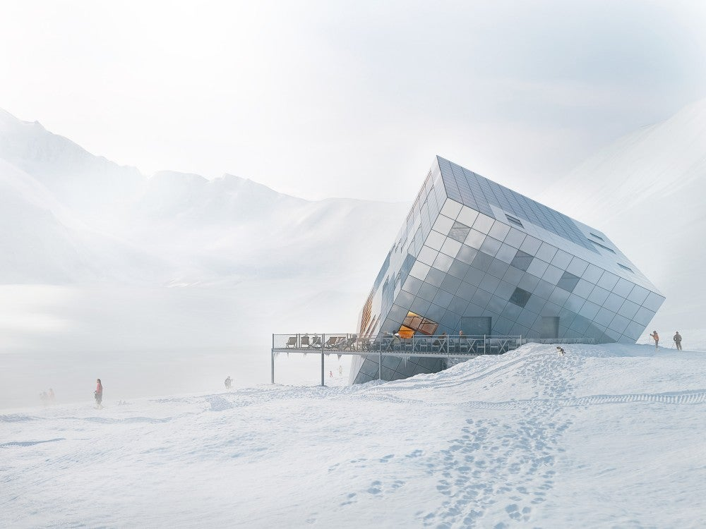 This Mountain Hut Looks Like an Ice Cube Perched in the Snow