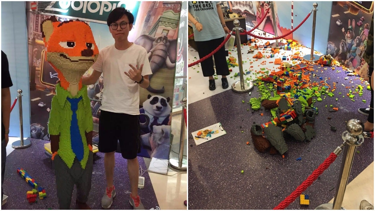 Man Spends Days Making Zootopia LEGO Statue, Child Destroys It In Seconds