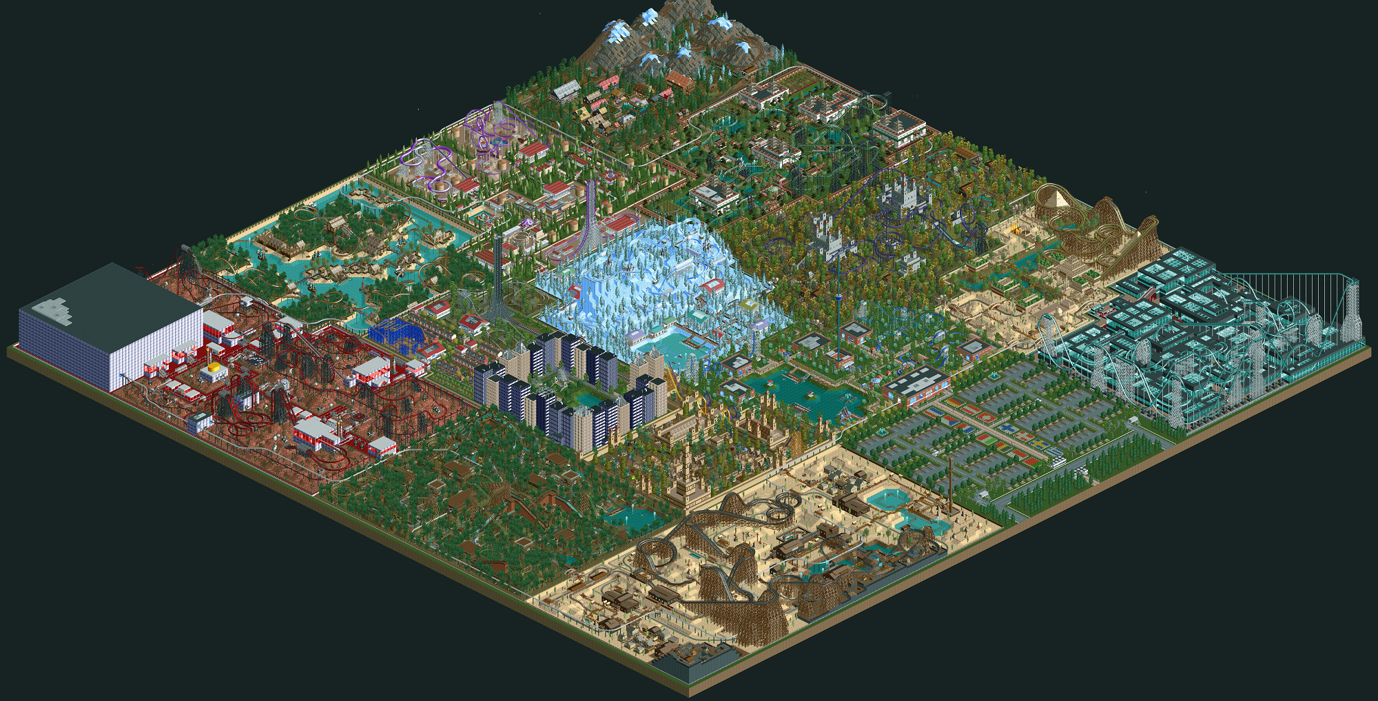 Player Spends A Decade Polishing Epic Theme Park InRollercoaster Tycoon 2