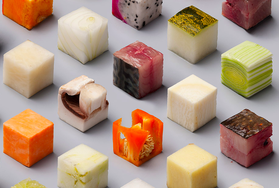 This is a real photo of different types of food cut into identical cubes