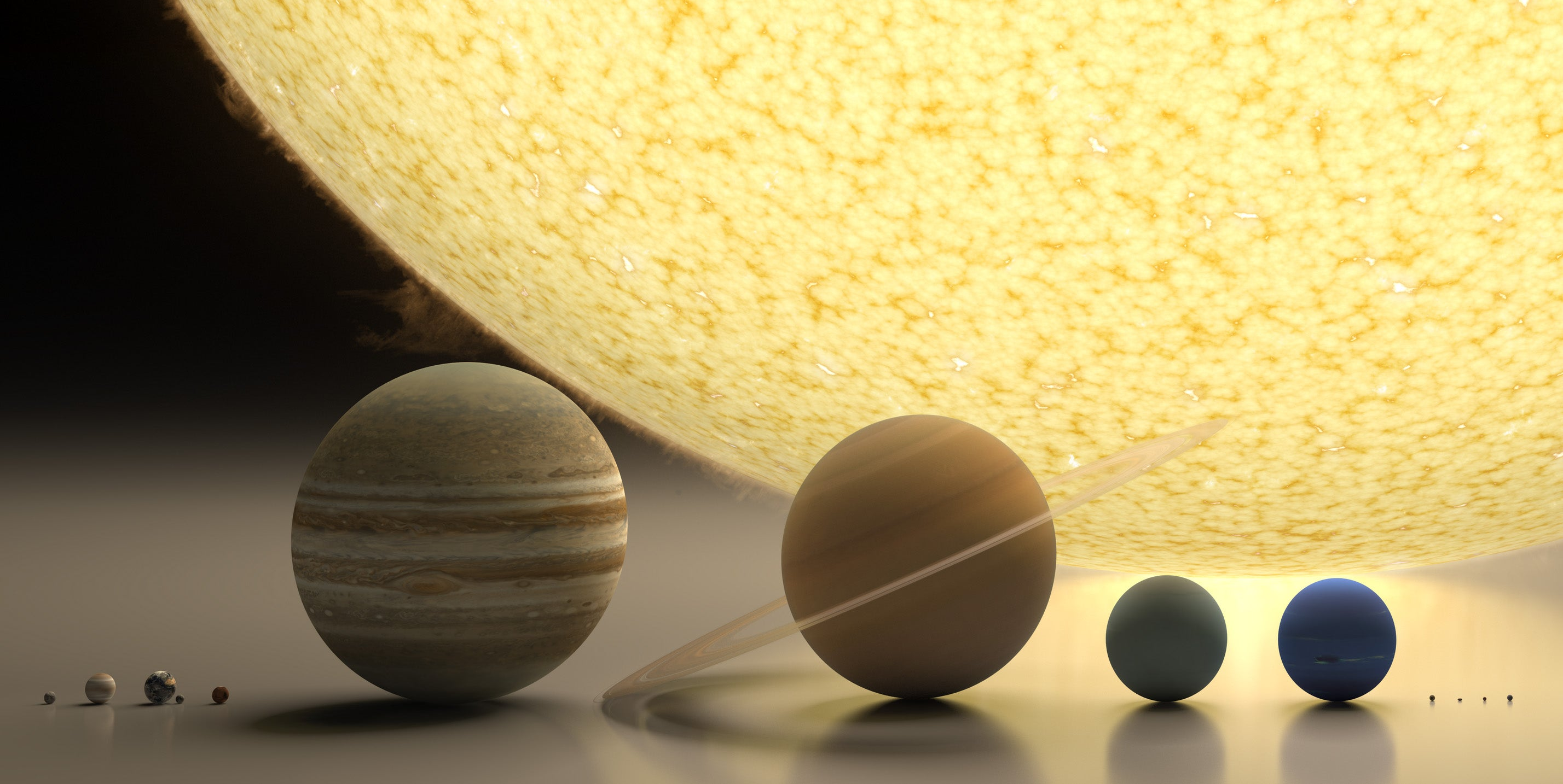Spectacular rendering of the solar system to scale