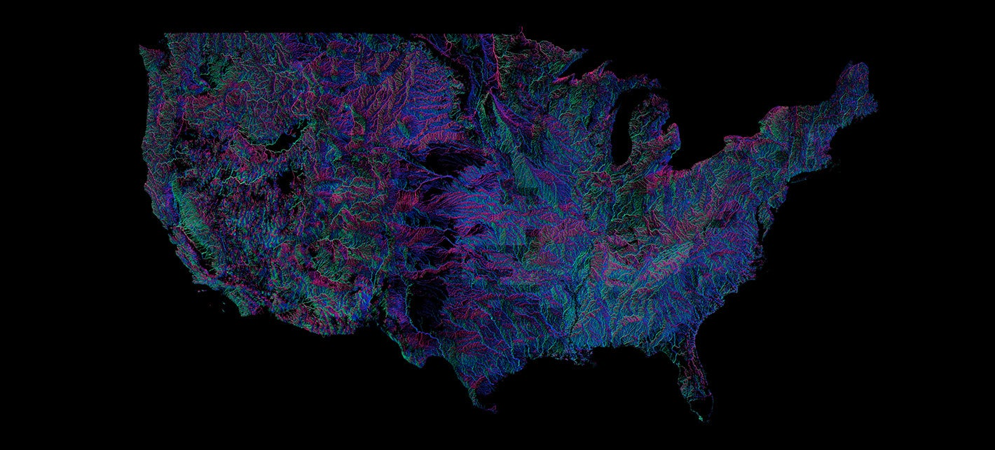 Every River in the U.S., Coloured According to the Way It Flows
