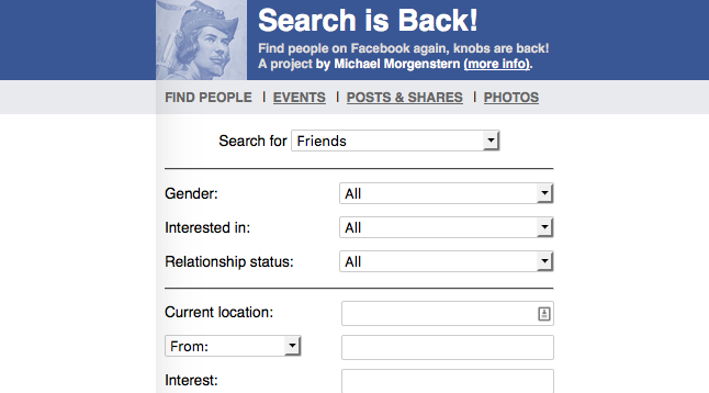 Search Is Back Is an Advanced Facebook Graph-Like Search Tool