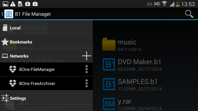 B1 File Manager Accesses Multiple Dropbox Accounts on Android
