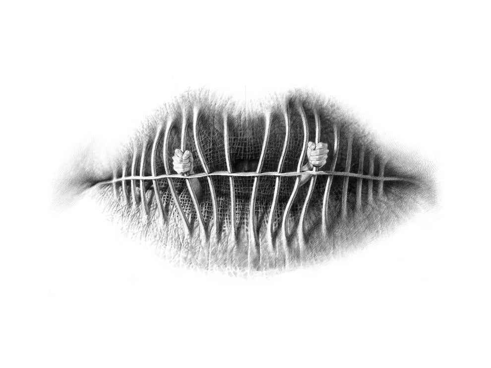 Surreal pencil drawings of lips made from other things (NSFW-ish)