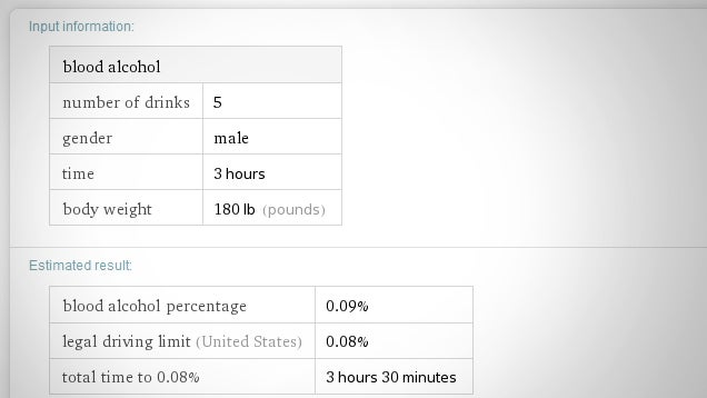 Estimate Your Blood Alcohol Content With Wolfram Alpha