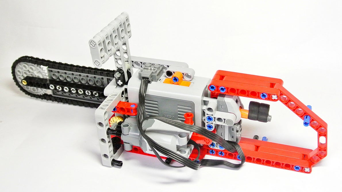 Working Lego Chainsaw Makes Short Work of Lego Forests
