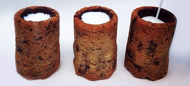 The best dessert ever is a shot of milk inside a glass made of cookie