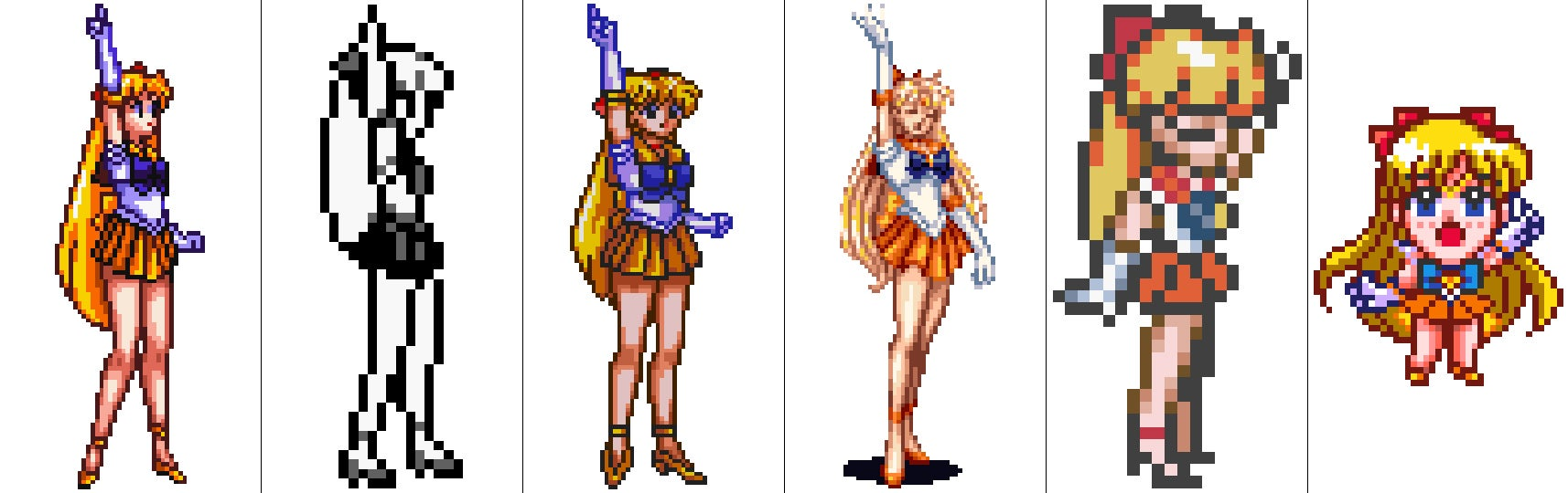 The Sailor Scouts Don't Look Half Bad as Retro Game Sprites