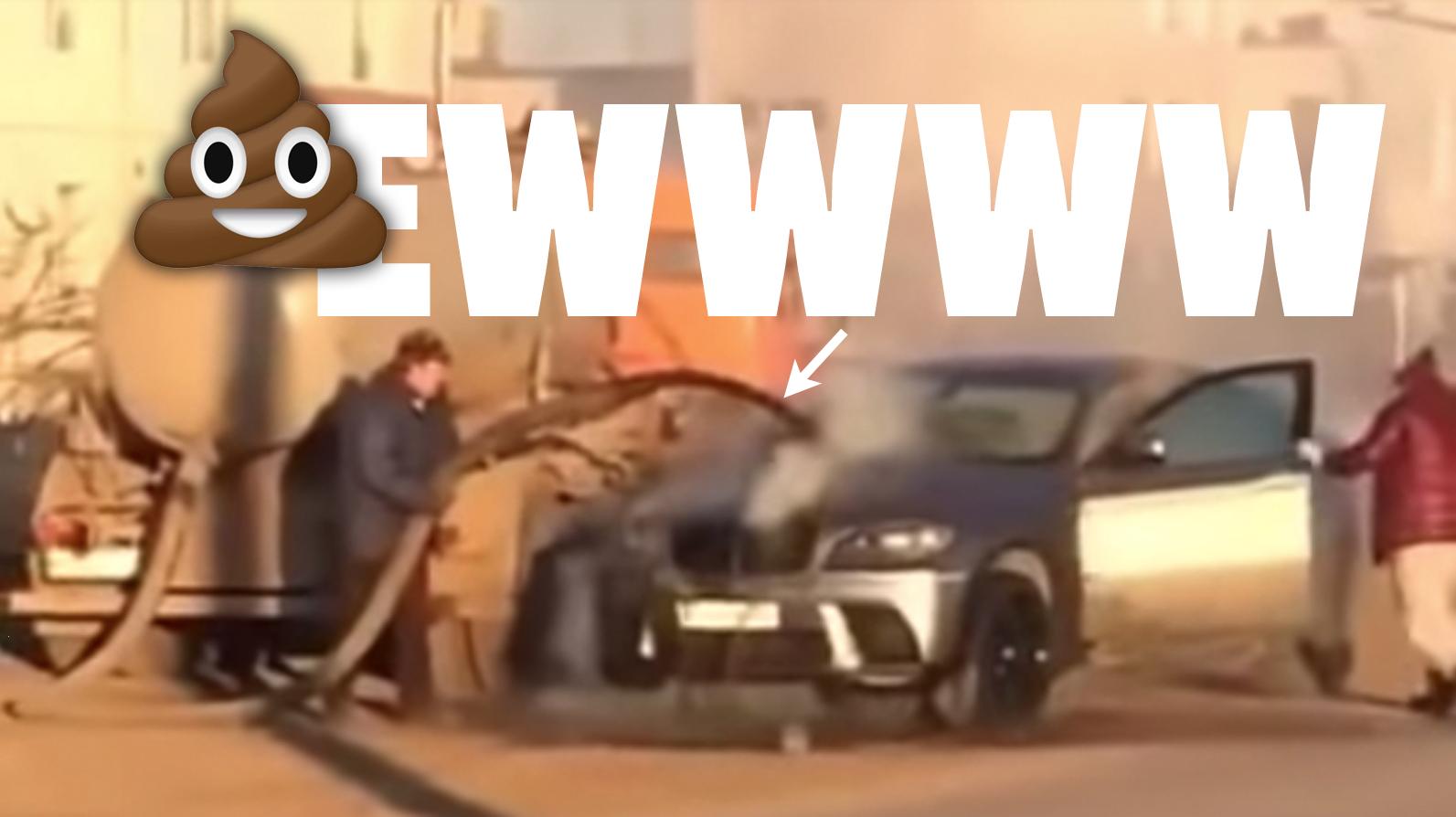 Burning BMW Extinguished With Gushing Liquid Shit