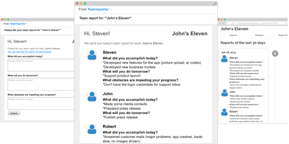 Teamreporter Builds Status Emails For You, Skips Time-Wasting Meetings