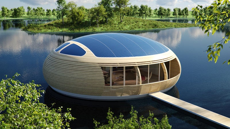 This Floating, Solar Powered House is Up to 98% Recyclable